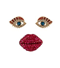 Betsey Johnson® Goldtone Pave Lips Stretch Ring & Eye Stud Earring Set