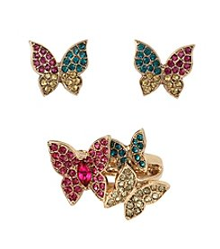 Betsey Johnson® Goldtone Pave Butterfly Stretch Ring & Stud Earring Set