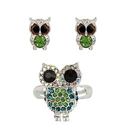 Betsey Johnson® Silvertone Pave Owl Stretch Ring & Stud Earring Set