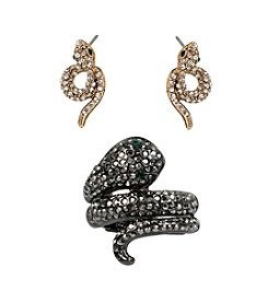 Betsey Johnson® Two Tone Pave Snake Wrap Stretch Ring & Stud Earring Set