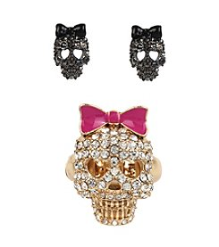 Betsey Johnson® Goldtone Pave Skull Stretch Ring & Stud Earring Set