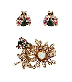 Betsey Johnson® Goldtone Pave Flower Bug Cluster Stretch Ring & Bug Stud Earring Set