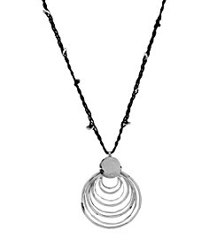 Robert Lee Morris Soho™ Silvertone Layered Hammered Sculptural Ring Pendant Long Necklace