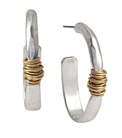 Robert Lee Morris Soho™ Two-Tone Wire Wrapped Oval Hoop Earring