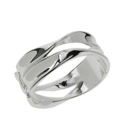 Robert Lee Morris Soho™ Silvertone Sculptural Cut-Out Hinged Bangle Bracelet