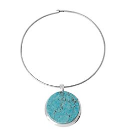 Robert Lee Morris Soho™ Silvertone Semiprecious Turquoise Round Pendant Wire Necklace