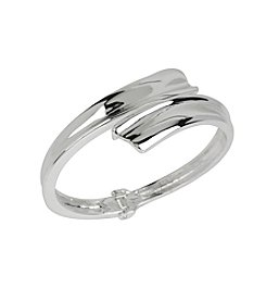 Robert Lee Morris Soho™ Silvertone Sculptural Bypass Hinged Bangle Bracelet
