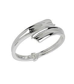 Robert Lee Morris Soho™ Silvertone Sculptural Bypass Hinged Bangle Bracelet