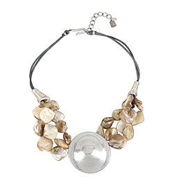Robert Lee Morris Soho™ Sculptural Round Pendant Shell Stone Necklace