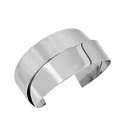 Robert Lee Morris Soho™ Silvertone Mixed Hammered Texture Overlap Cuff Bracelet