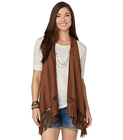 Democracy Faux Suede Fringe Vest