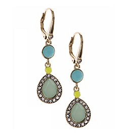 Nine West Vintage America Collection® Goldtone And Turquoise Double Drop Leverback Earrings