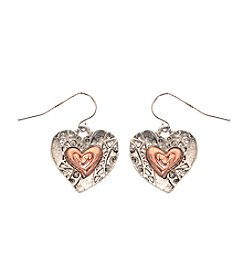 L&J Accessories Two Tone Heart Drop Pierced Earrings