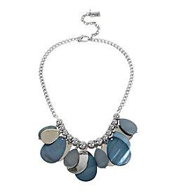Kenneth Cole® Silvertone Shaky Shell Stone Teardrop Frontal Necklace