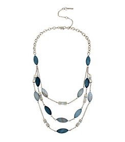 Kenneth Cole® Silvertone Shell Bead Multi Row Necklace
