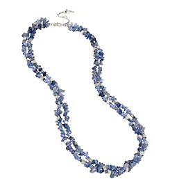 Kenneth Cole® Silvertone Semiprecious Blue Chip Bead Multi Row Long Necklace