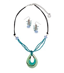 Erica Lyons® Silvertone Blue Green Artisan Glass Teardrop Pendant Necklace And Earrings Set