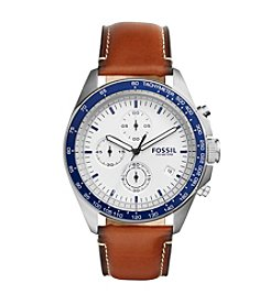 Fossil® Men's Sport 54 Watch In Silvertone With Brown Leather Strap And Blue Top Ring