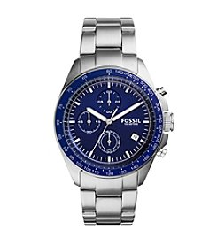 Fossil® Men's Sport 54 Watch In Silvertone With Metal Bracelet And Blue Dial