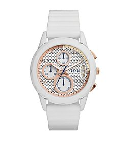 Fossil® Women's Modern Pursuit Watch In Matte White With Silicone Strap And Blush Accents