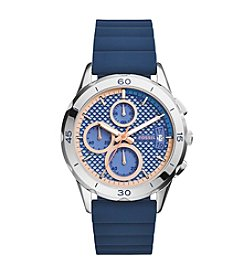 Fossil® Women's Modern Pursuit Watch In Silvertone With Blue Silicone Strap And Blush Accents