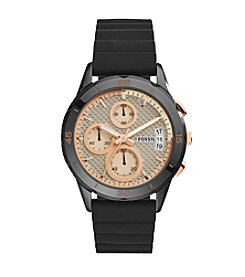 Fossil® Women's Modern Pursuit Watch In Black With Silicone Strap And Blush Accents On Dial