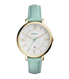 Fossil® Women's Jacqueline Watch In Goldtone With Green Leather Strap