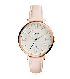 Fossil® Women's Jacqueline Watch In Rose Goldtone With Blush Leather Strap