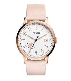 Fossil® Women's Vintage Muse Watch In Rose Goldtone With Blush Leather Strap