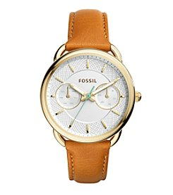 Fossil® Women's Goldtone And Brown Leather Tailor Watch