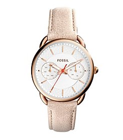 Fossil® Women's Tailor Watch In Rose Goldtone With Tan Leather Strap