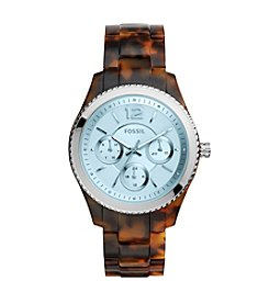 Fossil® Ladies Stella Watch In Tortoise Acetate With Blue Tinted Dial