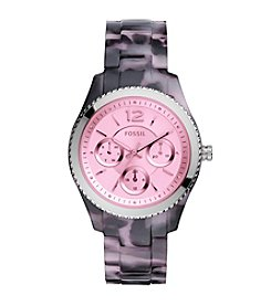 Fossil® Women's  Stella Watch In Black Tortoise Acetate With Pink Tinted Dial