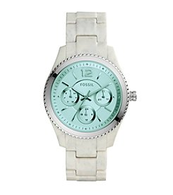 Fossil® Women's  Stella Watch In Horn Acetate With Green Tinted Dial