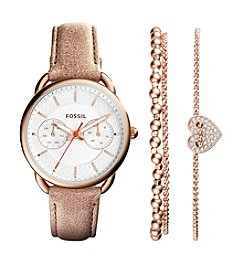 Fossil® Women's Tailor Watch Boxset In Rose Goldtone With Tan Leather Strap And Rose Goldtone Bracelets