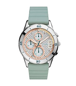 Fossil® Women's Modern Pursuit Watch In Silvertone With Green Silicone Strap And  Blush Accents On Dial