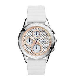 Fossil® Women's Modern Pursuit Watch In Silvertone With White Silicone Strap And  Blush Accents On Dial