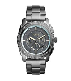 Fossil® Men's Machine Watch In Smoketone With Metal Bracelet And Grey Dial