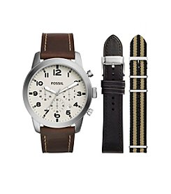 Fossil® Men's Pilot 54 Watch Boxset In Silvertone With Interchangeable Straps
