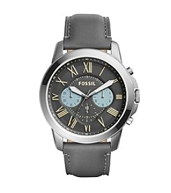 Fossil® Men's Grant Watch In Smoketone With Grey Leather Strap And Gray Dial With Blue Accents