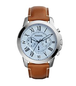 Fossil® Men's Grant Watch In Silvertone With Brown Leather Strap And Blue Tinted Dial
