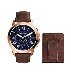 Fossil® Men's Grant Watch Box Set In Rose Goldtone With Brown Leather Strap And Navy Dial And Brown Leather Wallet