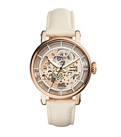 Fossil® Women's Original Boyfriend Mechanical Watch In Rose Goldtone With Light Beige Strap