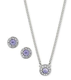 Givenchy® Silvertone Violet Pendant Necklace And Earrings Set