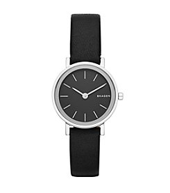 Skagen Denmark Women's Hald Watch In Silvertone With Black Leather Strap And Black Dial