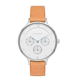 Skagen Denmark Women's Anita Multifunction Watch In Silvertone With Natural Leather Strap