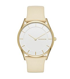 Skagen Denmark Women's Slim Holst Watch In Goldtone With Yellow Leather Strap