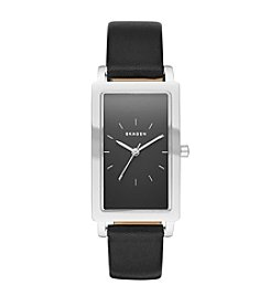 Skagen Denmark Women's Rectangle Hagen Watch In Silvertone With Black Leather Strap And Black Dial
