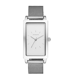 Skagen Denmark Women's Rectangle Hagen In Silvertone With Mesh Bracelet
