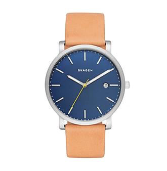 Skagen Men's Hagen Watch in Silvertone with Natural Leather